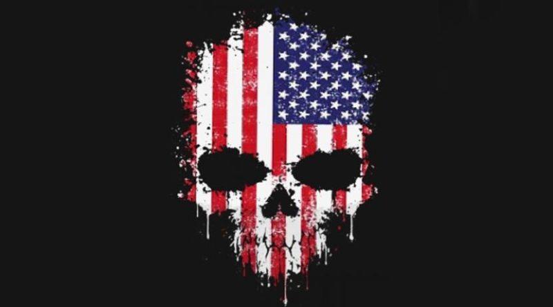 americká vlajka lebka