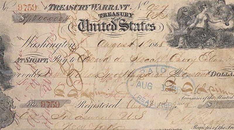 šek za nákup Aljašky
