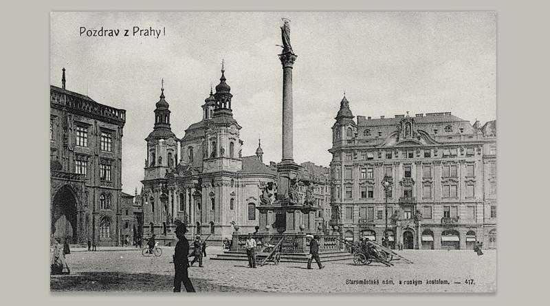 Pozdrav z Prahy - Staroměstské náměstí - Mariánský sloup